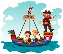 Children riding boat with pirate Piirros