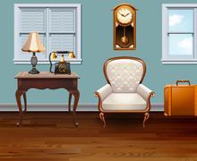 Room full of vintage furniture - stock illustration