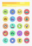Stock Illustration of Set Thin Lines Icons of Traveling