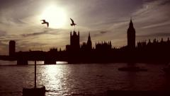 Westminster and Big Ben in silhouette Stock Footage
