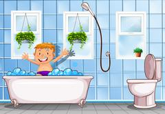 Boy taking a bath in bathroom Stock Illustration
