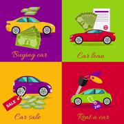 Concept of Buying Selling Rental Car - stock illustration