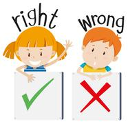 Boy with wrong sign and girl with right sign - stock illustration