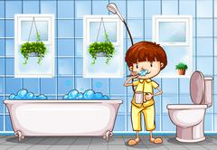 Boy brushing teeth in the bathroom Stock Illustration