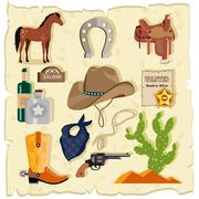 Elements of Wild West Cactus Revolver Hat Stock Illustration