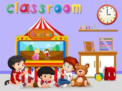 Children watching puppet in classroom - stock illustration