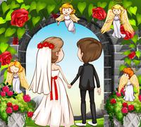 Wedding couple at the rose garden - stock illustration
