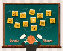 Concept Brainstorm. Man and Blackboard Stock Illustration