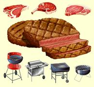 Different kind of meat and grill equipment - stock illustration