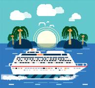 Cruise Ship. Water Tourism Stock Illustration