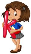 Little girl holding letter K Stock Illustration