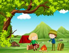 Boy and girl camping out in the field - stock illustration