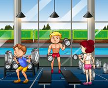 People working out in the gym - stock illustration