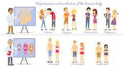 Set Temperament of People and Constitution Body - stock illustration