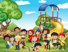 Children playing in the park - stock illustration