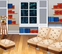 Studyroom with sofa and books - stock illustration