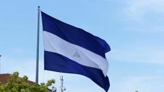 National flag of Nicaragua on blue sky Stock Footage