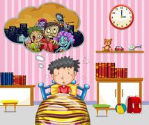 Little boy having nightmare Stock Illustration