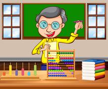 Math teacher in the classroom - stock illustration