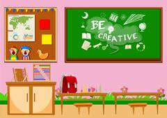 Elementary classroom with board and chairs Stock Illustration