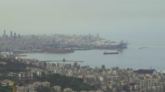 Pan shot of the bay in Beirut, Lebanon - stock footage
