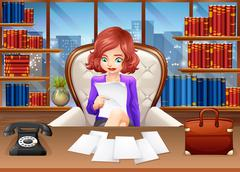 Businesswoman reading documents Stock Illustration
