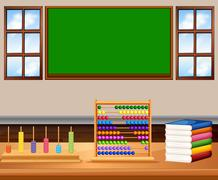 Classroom with board and books Stock Illustration