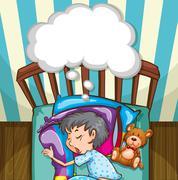 Boy in blue pajamas sleeping - stock illustration