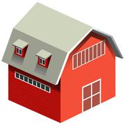 Red barn with gray roof - stock illustration
