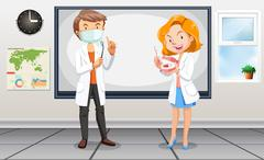 Male and female dentists with tools - stock illustration
