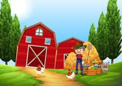 Farmer working in the farm outside Stock Illustration