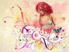 Girl with pink hair and flourish - stock illustration