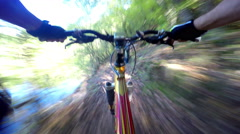 POV Extreme Mountain Downhill Biking Stock Footage