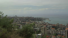 Stock Video Footage of Pan shot of the coast in Beirut, Lebanon