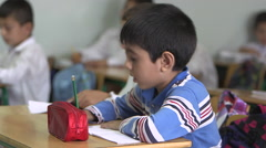 Syrian refugees at school in Lebanon - stock footage