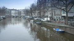 Canal and historic houses at Keizersgracht Stock Footage