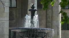 Close up view of a small fountain at the Palace of Culture and Science in Warsaw - stock footage