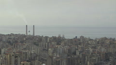 Shot of Beirut skyline, sea in background - stock footage