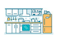 Kitchen linear flat Stock Illustration