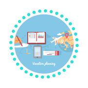 Vacation Planning Icon Flat Isolated Round Stock Illustration