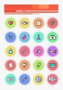Set of Outline Medicine Icons - stock illustration