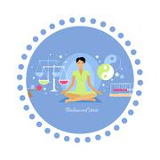 Balanced State Woman Icon Flat Isolated - stock illustration