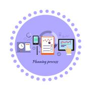 Planning Process Icon Flat Design - stock illustration
