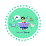 Process of Learning Icon Flat Design - stock illustration