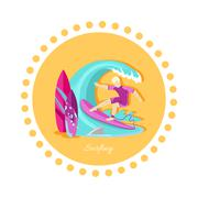 Surfing Sport Icon Flat Design - stock illustration