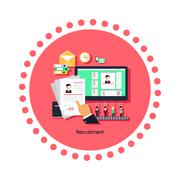 Recruitment Concept Icon Flat Design Stock Illustration