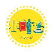 Fair Trial Concept Icon Flat Design - stock illustration
