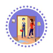 Housewife Meets Master Repairman Stock Illustration