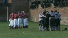 Eton Wall Game St Andrews Day 2015. Team huddles before match - stock footage