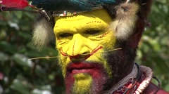 Stock Video Footage of Huli wigmen painted face